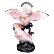 Pair of Pink Cockatoos Ceramic Molded Figurine circa 1950
