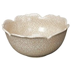 Japanese Crackle Lotus Bowl early 20th century