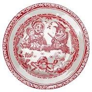 Antique Staffordshire Allerton Punch and Judy child's transferware dessert plate circa 1880