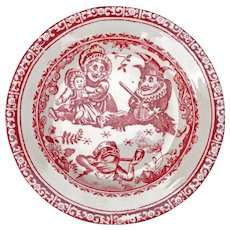 Antique Staffordshire Allerton Punch and Judy child's transferware dessert plate circa 1880
