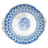 Large Staffordshire Transferware Platter of Churchyard late 19th Century