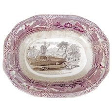 Staffordshire Black and Mulberry Transferware Serving Dish 19th Century