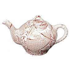 English Staffordshire Aesthetic Movement Transferware Teapot late 19th Century