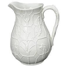 Parian Ware Pitcher with Calla Lily Design 19th Century