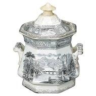 English Black Italianate Transferware Sugar Bowl 19th Century