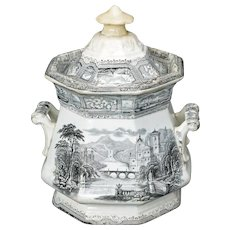 English Black Italianate Transferware Sugar Bowl 19th Century