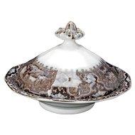Cobridge Vincennes Mulberry Transferware Butter Dish circa 1840
