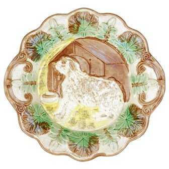 Majolica Plate of a Sheepdog and Doghouse Late 19th Century