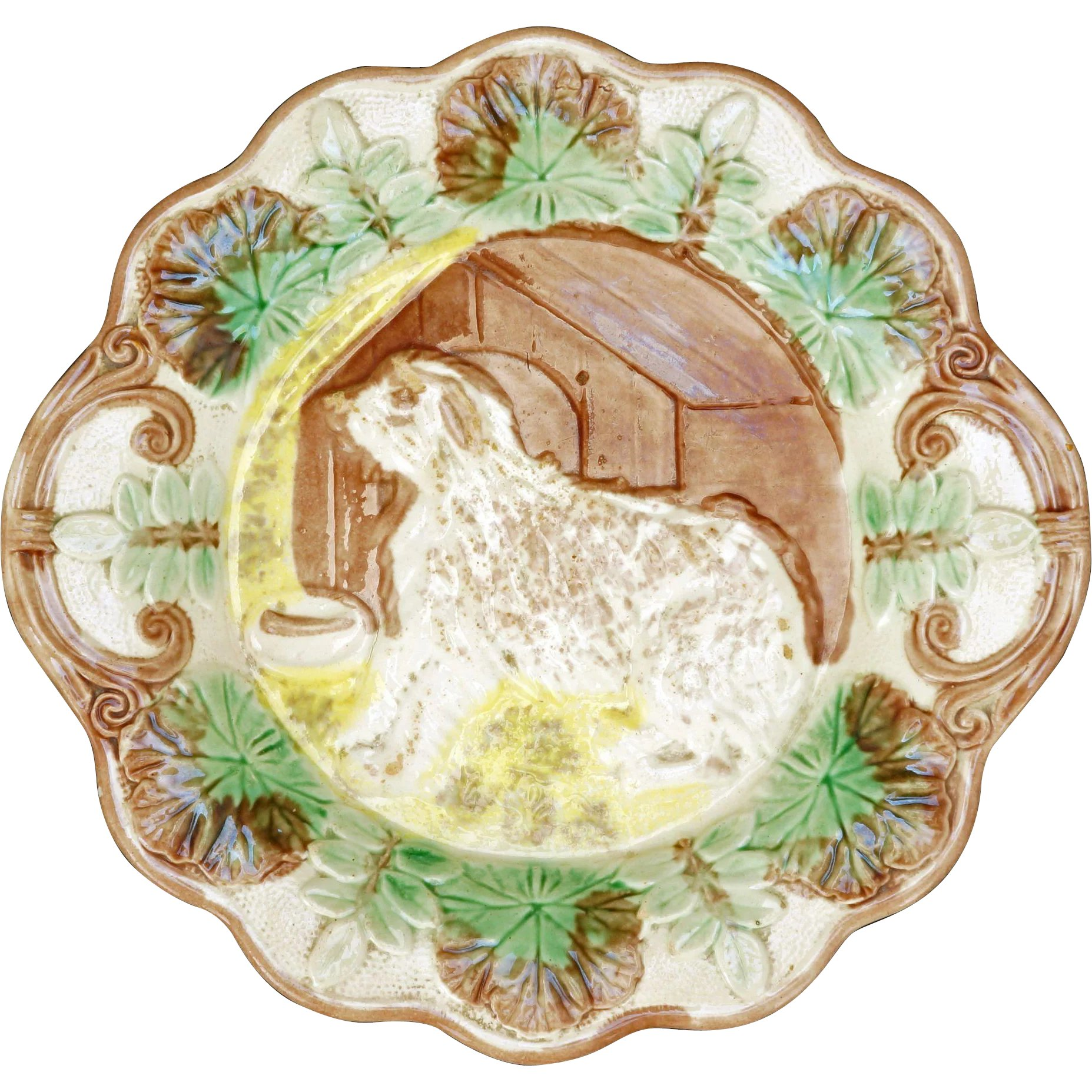 Majolica And Animals DOGS,PHEASANT Plates 3 Collectibe Lot