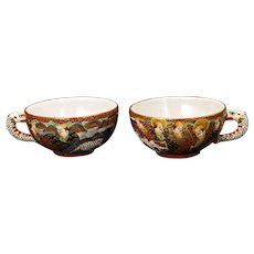 Pair of Satsuma Teacups Meiji Period Early 20th Century