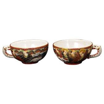 Pair of Satsuma Teacups Meiji Period Early 20th Century