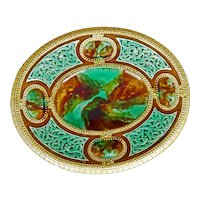 Large English Majolica Pedestal Dish with Celtic Designs Late 19th Century