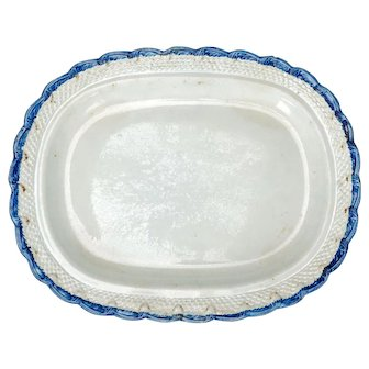 Large English Staffordshire Pearlware Platter by Adams Early 19th Century
