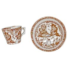 Child's Staffordshire Allerton Punch and Judy Teacup and Saucer late 19th Century