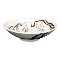 Midcentury Large Studio Japanese Stoneware Crackle Bowl