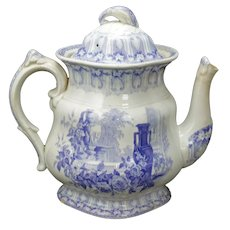 Large Staffordshire Davenport Lilac Transferware Teapot Late 19th Century