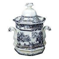 English Victorian Staffordshire Transferware Sugar Mid 19th Century