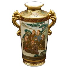 Japanese Satsuma Vase with Immortal Figures Meiji Period