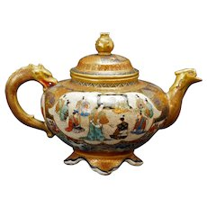 Japanese Satsuma Dragon Handle Teapot Meiji Period