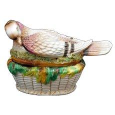 English Ceramic Staffordshire Covered Pigeon Dish Late 19th Century