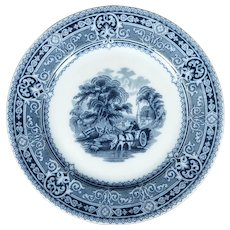 English Staffordshire Transferware Plate Woodland Circa 1920
