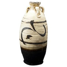 Ming Cizhou Earthenware Ceramic Jar with four handles