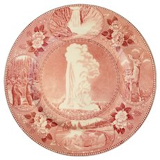 Old Faithful Yellowstone Red Jonroth/Adams English Transferware Souvenir Plate c 1925