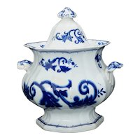 English Staffordshire Transferware Lidded Sugar Bowl 19th Century