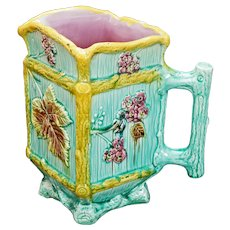 Blackberry Floral and Foliage Majolica Pitcher Late 19th Century