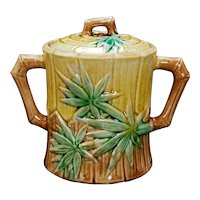 Majolica Sugar with Bamboo Design by Griffen, Smith, Hill late 19th Century