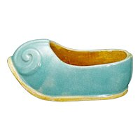 Chinese Ceramic Shoe with Robins Egg Glaze Circa 1900