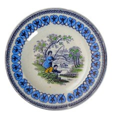 Miniature Child's Multicolor C.E. & M Fishers Pattern Transferware Plate circa 1865