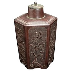 Chinese 18th/19th Century Yixing Hexagonal Prunus Tea Canister
