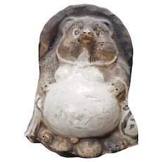 Vintage Japanese Mythical Badger Dog Tanuki Shigaraki Ceramic Figure Signed c 1925