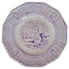 Staffordshire Transferware Plate Carrara Pattern 19th Century