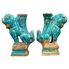 Ming Chinese Turquoise Glazed Lion Matched Pair Candlestick Prickets
