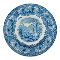 English Staffordshire Transferware Plate Genoa Pattern Circa 1920