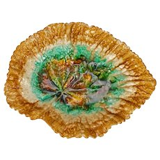 Antique Majolica Begonia Leaf Dish Late