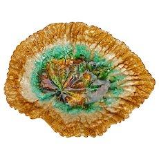 Antique Majolica Begonia Leaf Dish Late