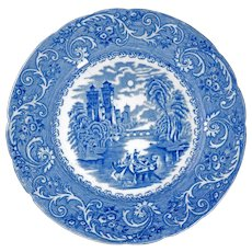 English Staffordshire Transferware Plate Rhine Pattern 19th Century