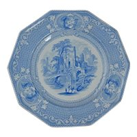 English Staffordshire Transferware Plate Abbey Pattern 19th Century