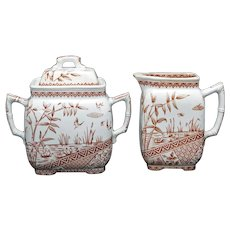 English Aesthetic Movement Transferware Pitcher and Sugar Bowl Burmah Pattern 1883