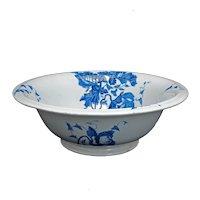 Large English Ceramic  Transferware Basin with Poppy Design Circa 1900