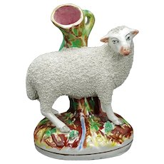 English Staffordshire Sheep Spill Vase Late 19th Century