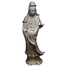 Japanese Bizen Ceramic Kannon Goddess of Mercy Figure Edo/Meiji Mid-19th C