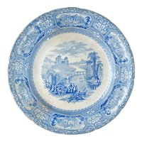 English Staffordshire Transferware Florentine Plate 19th Century