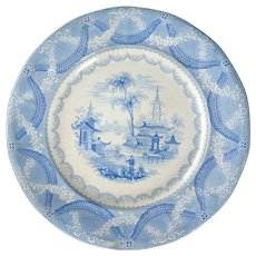 English Chinoiserie Staffordshire Transferware Plate Amoy Pattern 19th Century