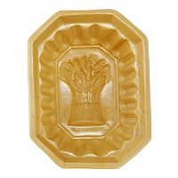 Victorian Yellowware Food Mold Wheat Sheaf Design 19th Century