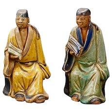 Pair Ceramic Chinese Shiwan Scholar Figures Circa 1930