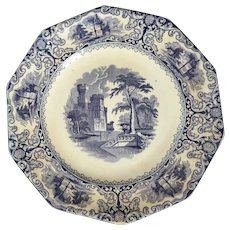 English Staffordshire Transferware Plate Pearl White Foliage Design 19th Century